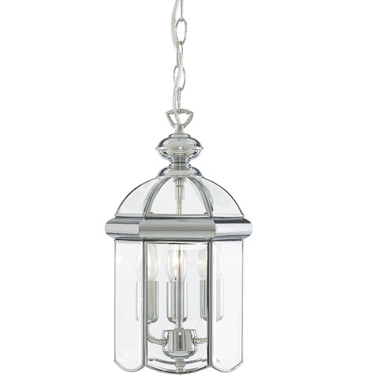 Moroccan 3 Lamp Chrome Lantern Pendant With Bevelled Glasses