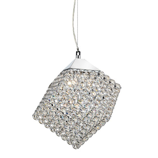4 Light Chrome Cube Pendant with Glass Button