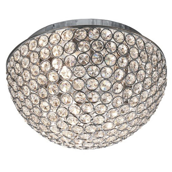 Image of Chantilly 3 Lamp Chrome Ceiling Light With Clear Crystal Buttons