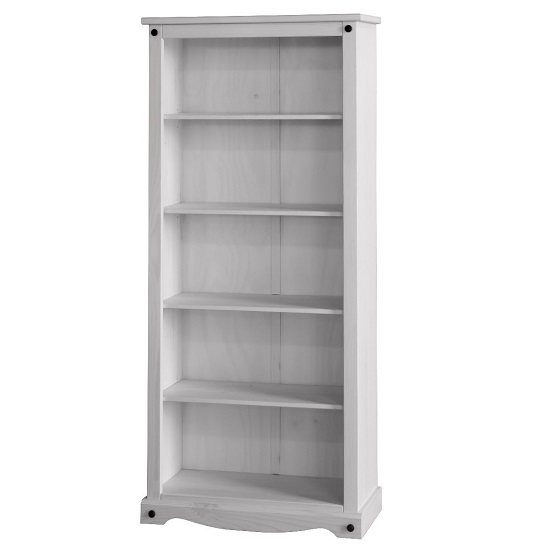 Coroner Tall Bookcase In White Washed Pine With 4 Shelf