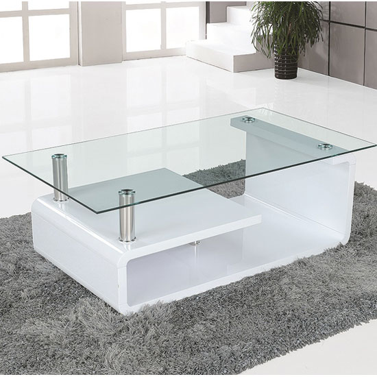 Isa Coffee Table High Gloss White With Clear Glass Top