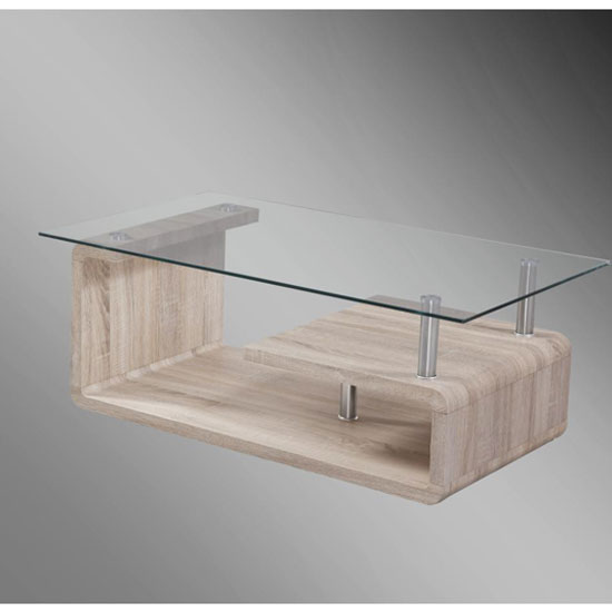 Jason Clear Glass Top Coffee Table With Sonoma Oak Base
