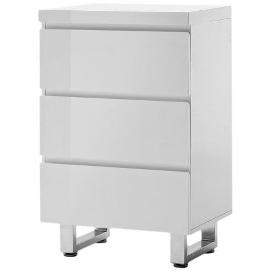 Sydney 3 Drawer Chest In White High Gloss With Chrome Base