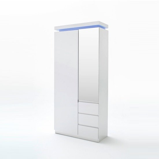 Odessa White Wardrobe With Mirror And Led Lights