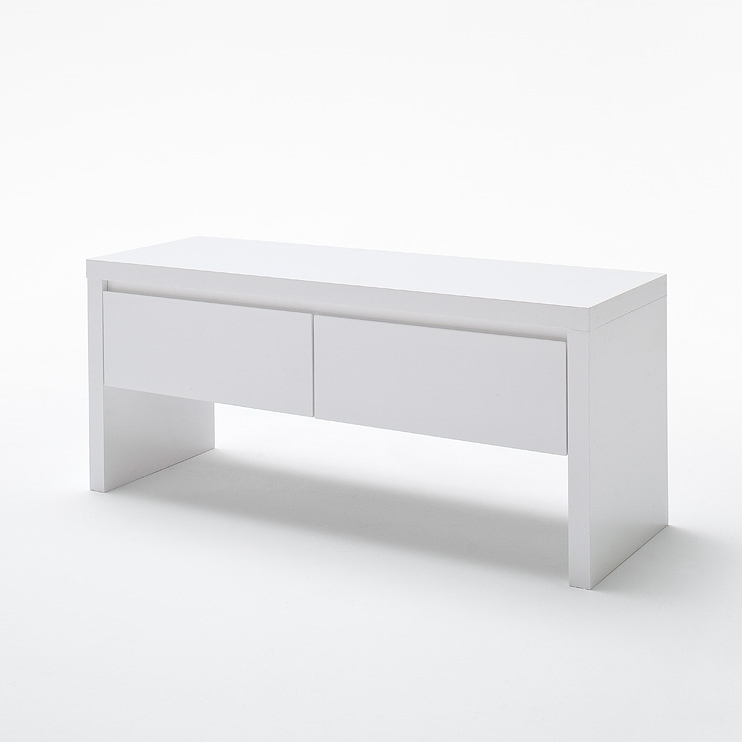 Odessa White 2 Drawer Bench In White Gloss