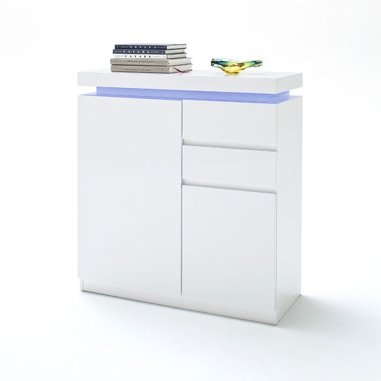 Odessa Shoe Cabinet In White Gloss 2 Doors 2 Drawers With LEDs