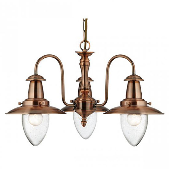 Fisherman 3 Lamp Copper Ceiling Light With Seeded Glass
