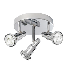 Torch Three Chrome Ceiling Spotlight With Circular Back Plate