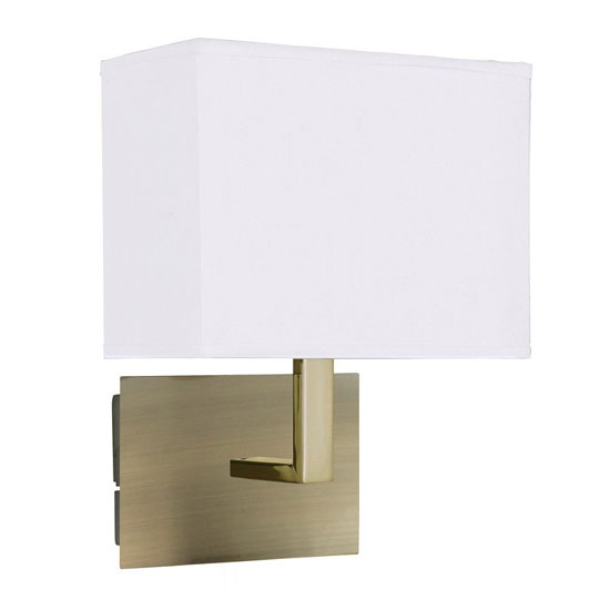 Wall Light Switch Remote Control : Antique Brass Wall Light With Oblong Rectangular Fabric