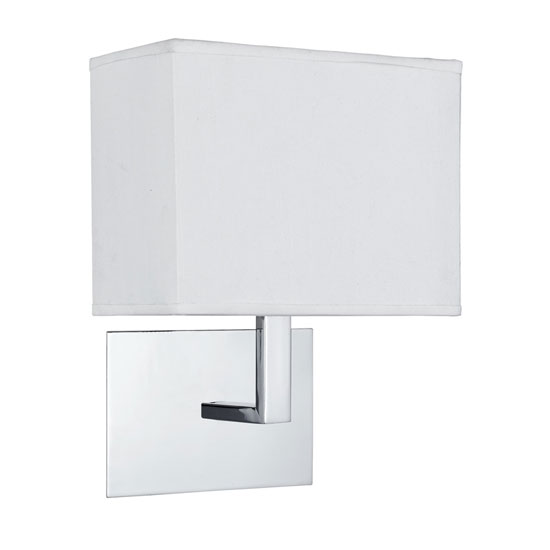 Chrome Wall Light With Oblong Rectangular Fabric Shade