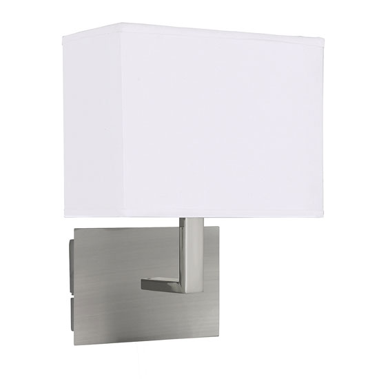 Satin Silver Wall Light With White Rectangular Fabric Shade