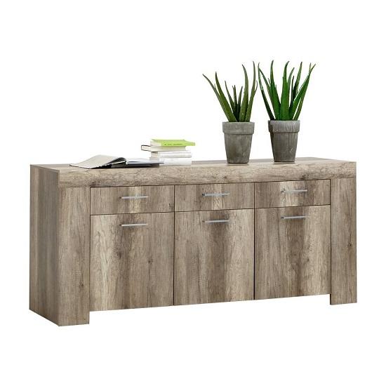 Monalisa 1 Wooden Sideboard In Wild Oak With 3 Door And 3 Drawer
