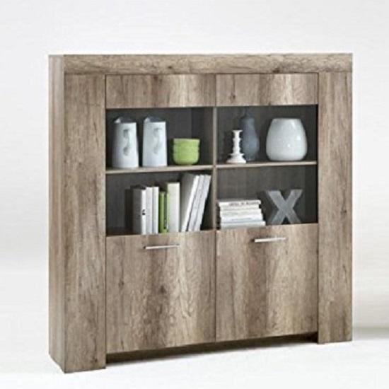 Monalisa 2 Wild Oak 2 Door Glass Display Cabinet With 4 Shelf