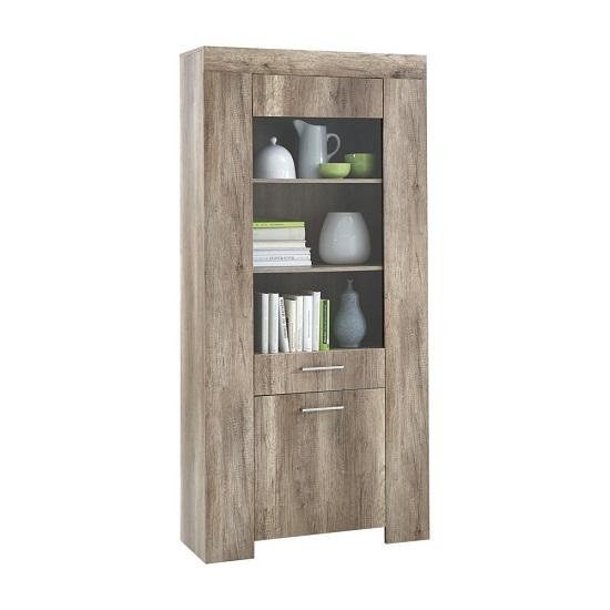 Monalisa 3 Wild Oak Tall Glass Display Cabinet With 3 Shelf