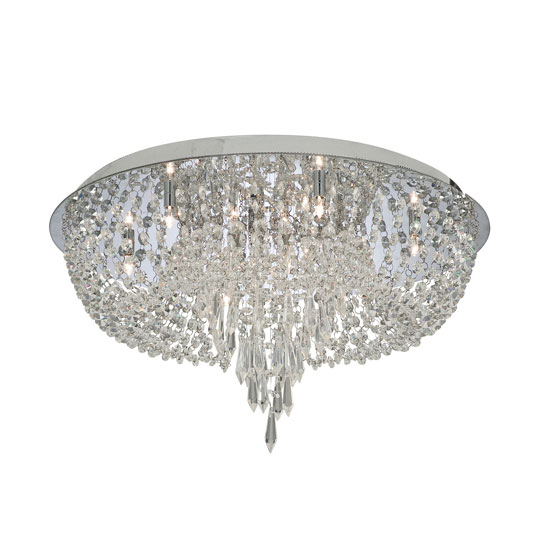 Bijoux 10 Lamp Chrome Ceiling Light With Crystal Trimmings