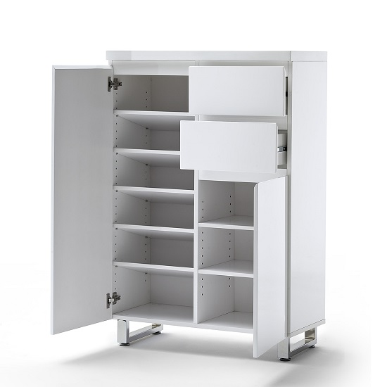 Sydney 2 Door Shoe Cabinet In High Gloss White With 2 Drawers_2