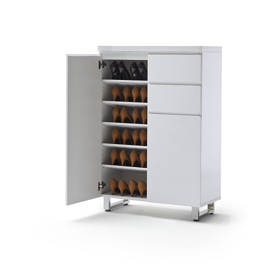 Sydney 2 Door Shoe Cabinet In High Gloss White With 2 Drawers_3