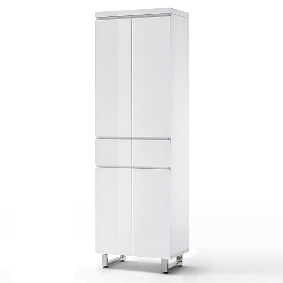 Sydney Shoe Cupboard In High Gloss White With 4 Doors 3