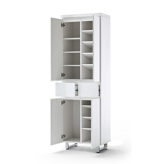 Sydney Shoe Cupboard In High Gloss White With 4 Doors 2