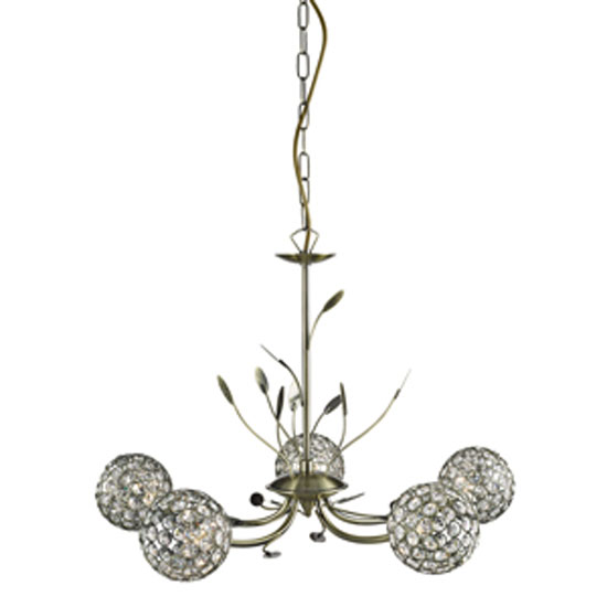 Bellis II 5 Lamp Antique Brass Ceiling Light With Crystal Balls