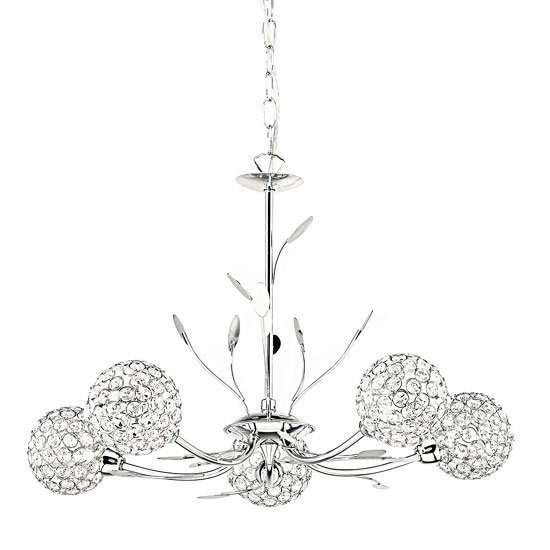 Image of Bellis II 5 Lamp Chrome Ceiling Light With Clear Buttons