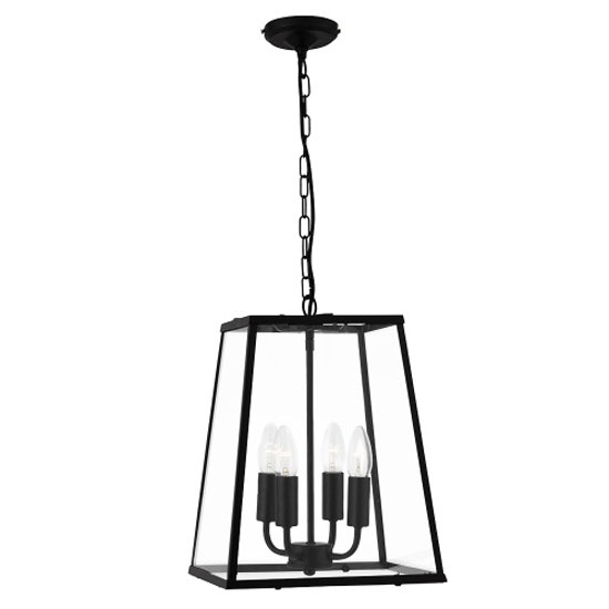Black 4 Lamp Lantern Pendant With Clear Glass Panels