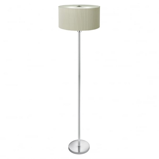Drum Pleat Polished Chrome Floor Lamp In Cream Finish 33597