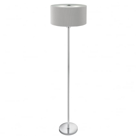 Drum Pleat Chrome Floor Lamp In Vintage Silver Finish