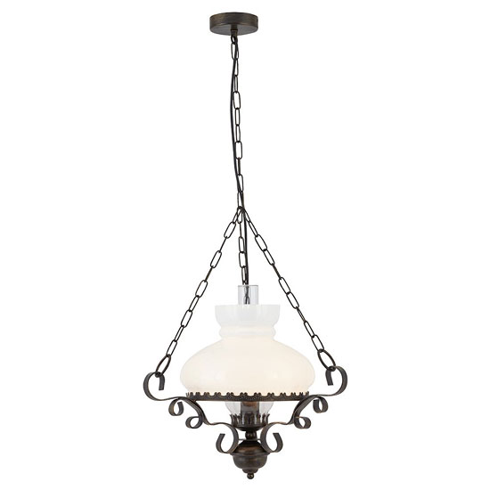 Oil Lantern Antique Rust Ceiling Light With Wrought Iron
