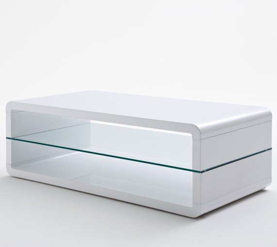 Agatha high gloss white coffee table with glass shelf 20159 for White and glass coffee table