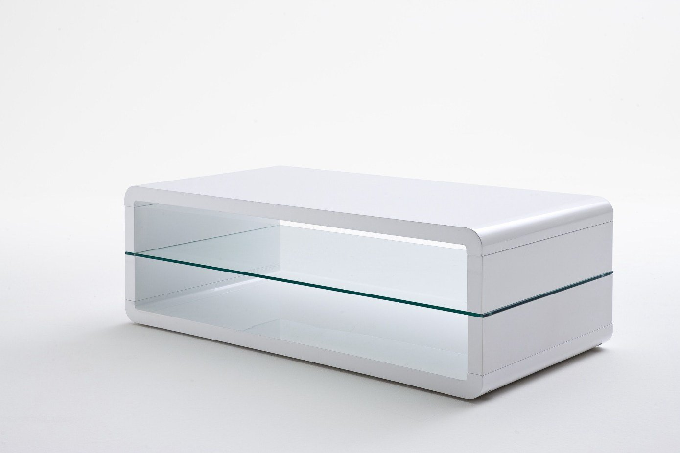 Agatha High Gloss White Coffee Table With Glass Shelf 20159