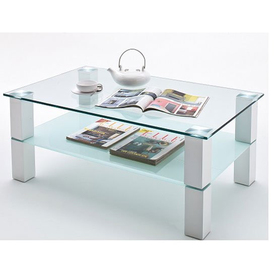 Amy Clear Glass Coffee Table With Frosted Shelf Buy Glass Coffee Table Furniture In Fashion