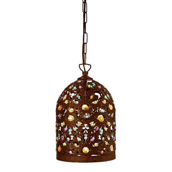 Moroccan Antique Bronze Pendant With Multi Colour Acrylic Beads