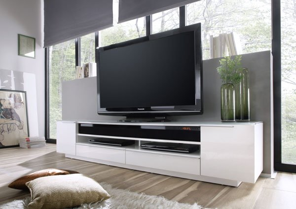 Canberra Contemporary TV Stand In White Glass Top And High Gloss_7