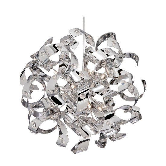 Curls 6 Lamp Chrome Flush Ceiling Light With Crystal Beads
