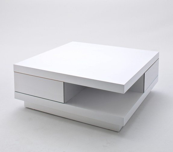 Furniture In Fashion Abbey Coffee Table High Gloss White With 2 Pull Out Drawers Uk Supplier