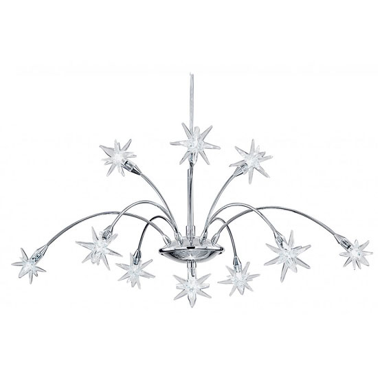 Stars 10 Lamp Chrome Pendant With Attractive Star Glass