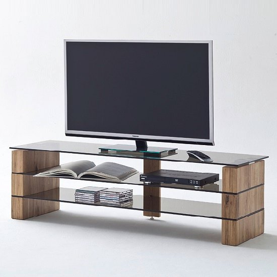 kathryn glass tv stand in smoke with solid oak frame 27572. Black Bedroom Furniture Sets. Home Design Ideas