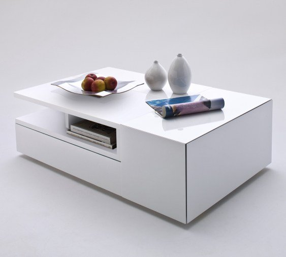 Modern Oval White High Gloss Glossy Lacquer Coffee Table: Davos Coffee Table High Gloss White With Multi Storage