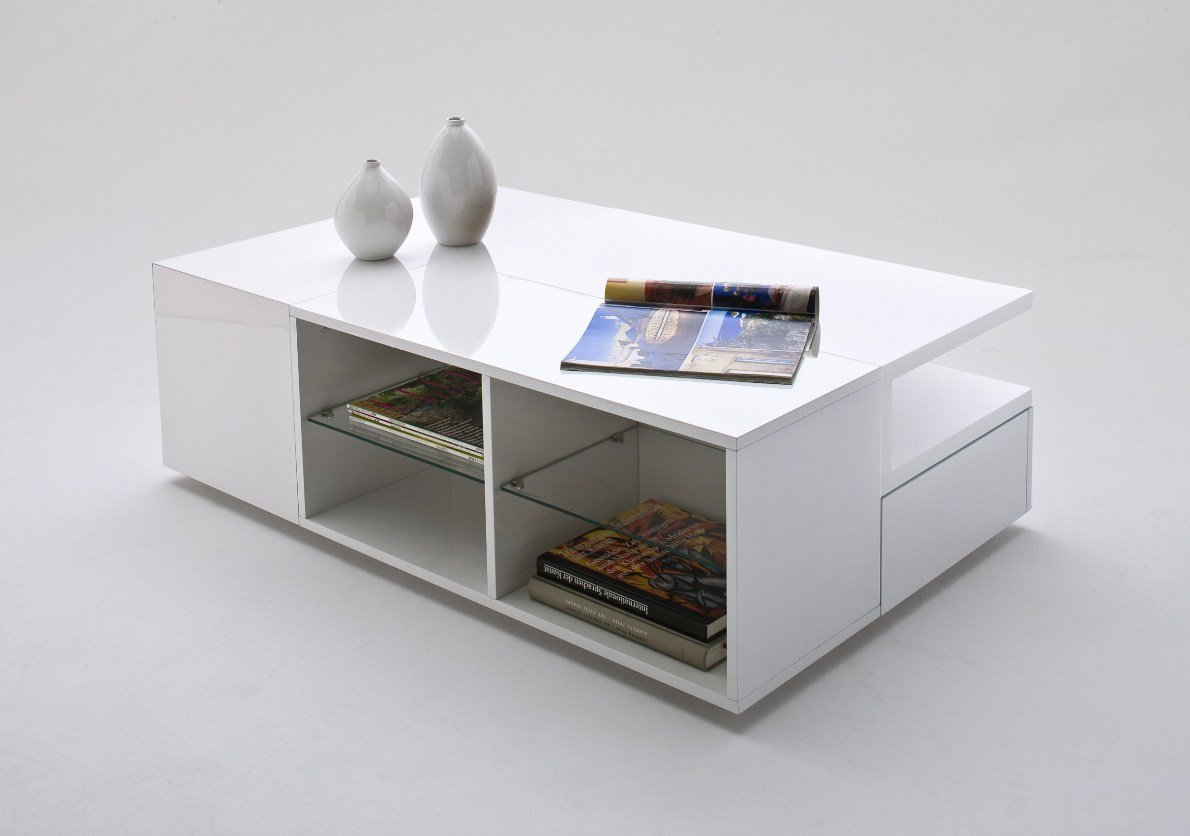 Davos Coffee Table High Gloss White With Multi Storage Function