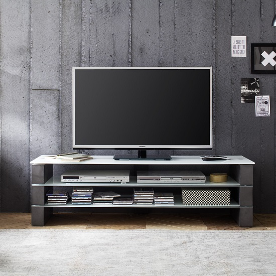 Aleena Glass TV Stand In White With Concrete Decor_1