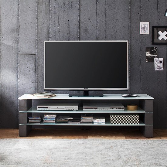 Aleena Glass Tv Stand In White With Concrete Decor 27571