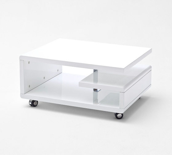 Kira coffee table high gloss white with wheels 20174 for White coffee table with wheels