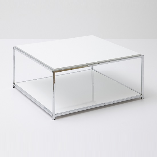 Isabel Coffee Table Square In White Gloss With Chrome Frame