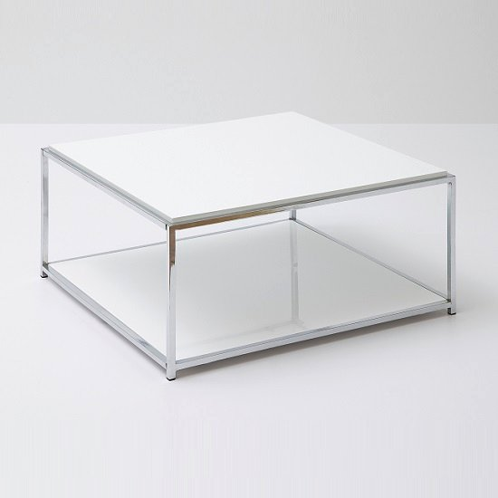 Isabel Coffee Table In White Gloss With Chrome And