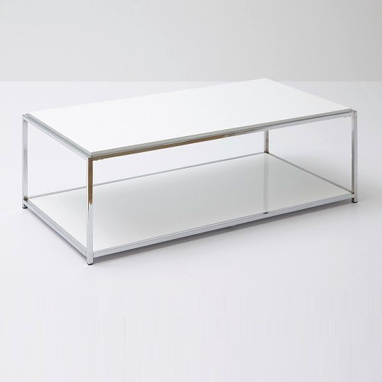 Isabel Coffee Table Rectangular In White Gloss With Chrome Frame