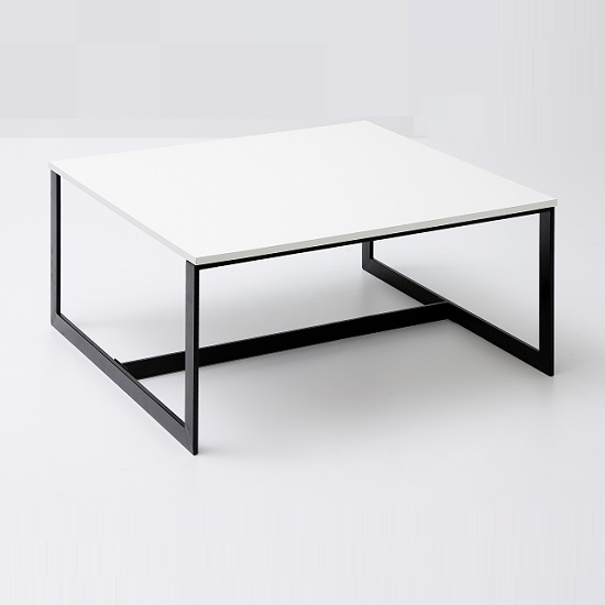 Fluoro Coffee Table Square In Matt White With Black Metal