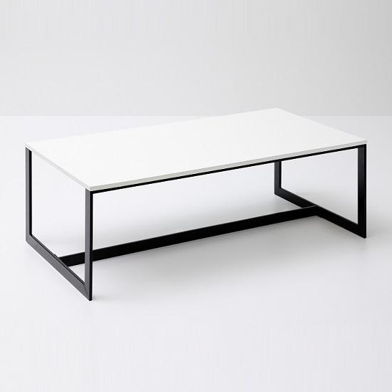 Fluoro Coffee Table Square In Matt White With Black Metal Le