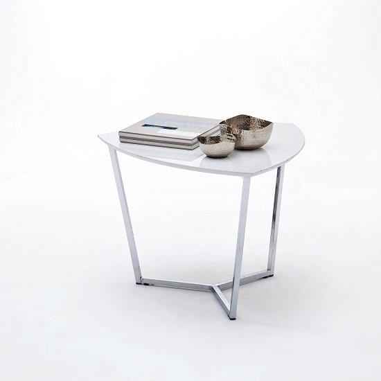 Banham Coffee Table In High Gloss White With Chrome Legs