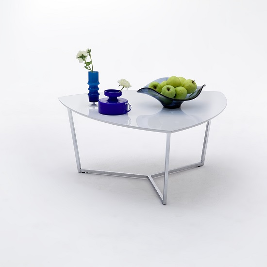 Banham Coffee Table Wide In High Gloss White With Chrome Legs